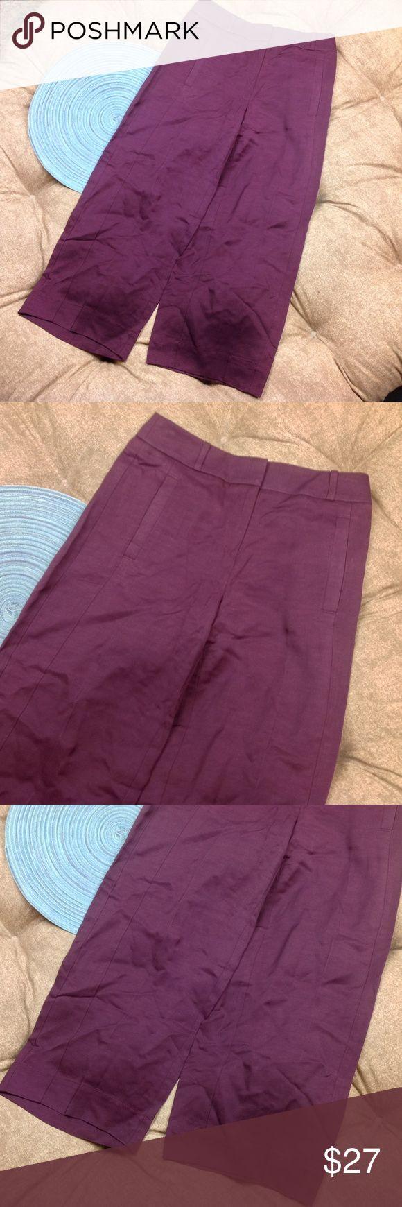 Ann Taylor LOFT Dress Pants Woman 00P Plum Purple New with tags; Ann Taylor LOFT Dress Pants Woman 00P Plum Purple Wide Leg Trouser Cropped; 81/19 Rayon/Linen; 23 inch inseam; 13.5 inch across waist; 10 inch rise Ann Taylor Pants Wide Leg