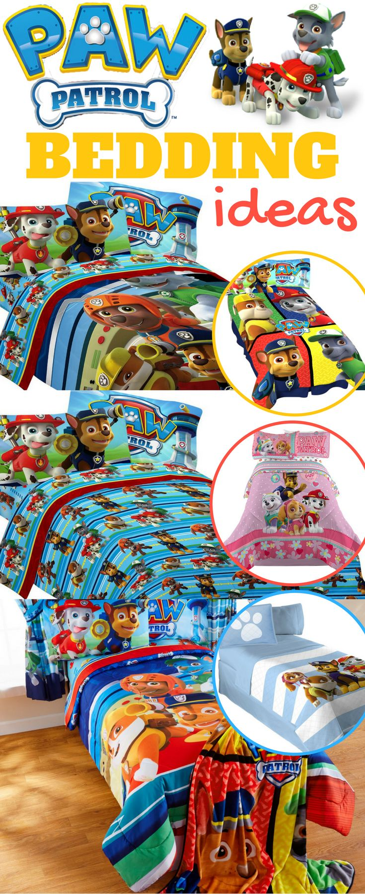 Kids Room Ideas + Theme Bedrooms + Kids Bedding + Apartment Therapy for Small Rooms = Paw Patrol Bedding, Pillows and Blankets from $20 @ Walmart