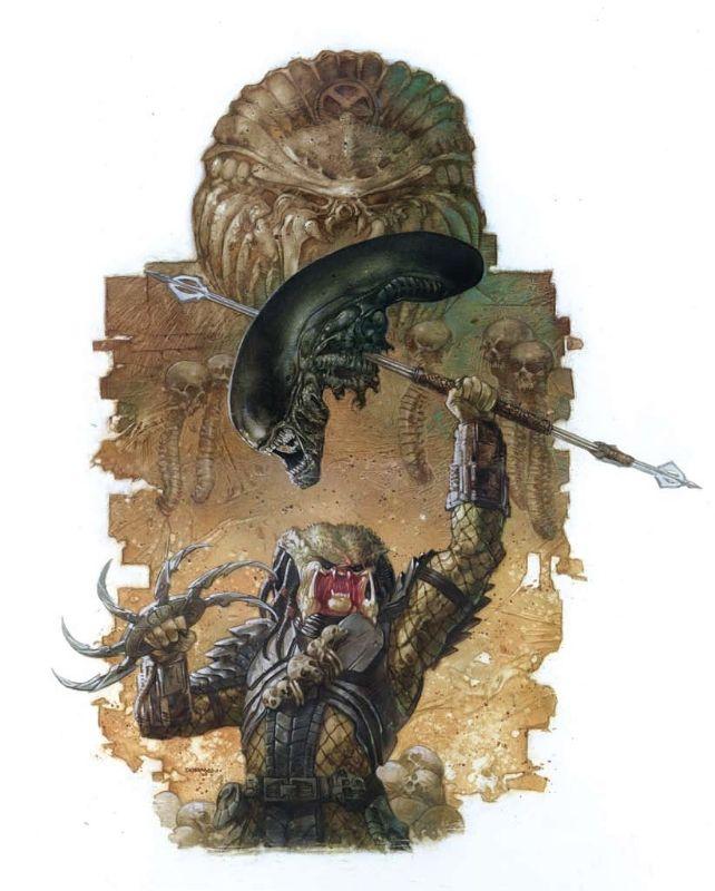 Production art for Aliens vs. Predator Comic Art