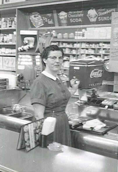 drug store and soda fountain...cherry cokes! Real malts & fizzy sodas...paper cups shaped like cornicopia stuck in a metal holder the same shape.