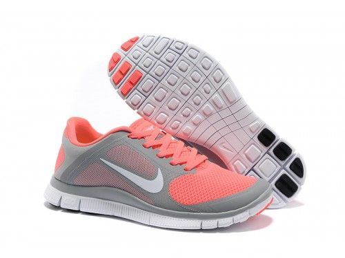 Women's Nike Free 4.0 v3 - Grey/Coral Red - <3 Nike Running Shoes Store Offers Cheap Nike Free Runs, Nike Air Max, Nike Frees, Nike Free Run 2, Nike Free Run3 For Women, Men And Kids In Nike Free Run Store.Welcome to Choose your favorite one at www.freerun2u.com.