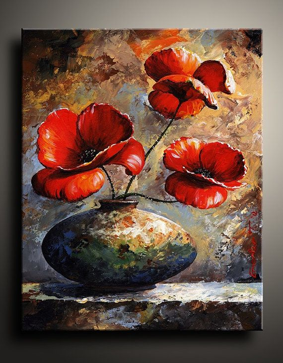 Canvas Print of Floral Acrylic Painting Wall Decor Wall by itarts, $66.00