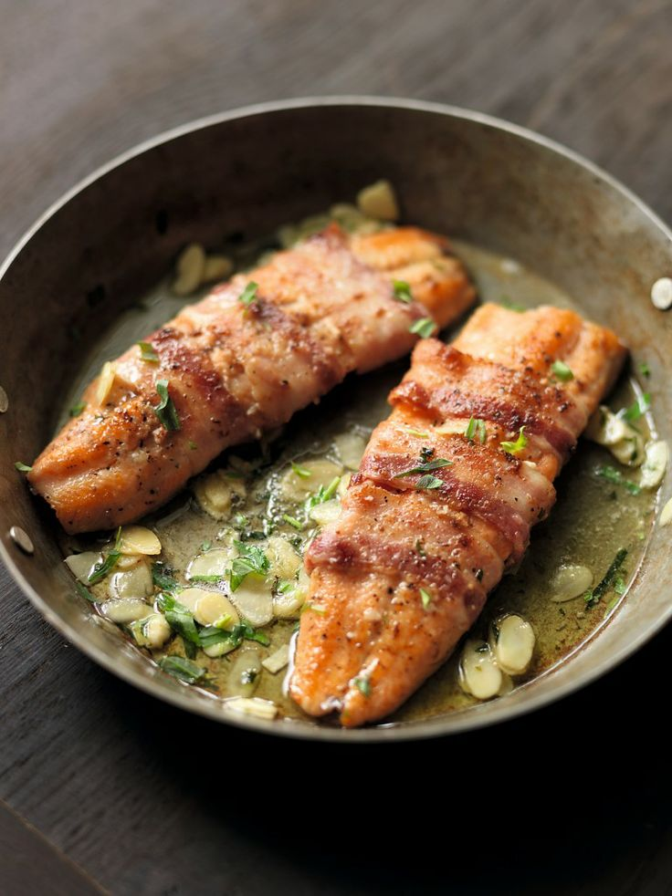 IRISH CUISINE - Trout Fillets with Streaky Bacon and Flaked Almonds - Kevin Dundon