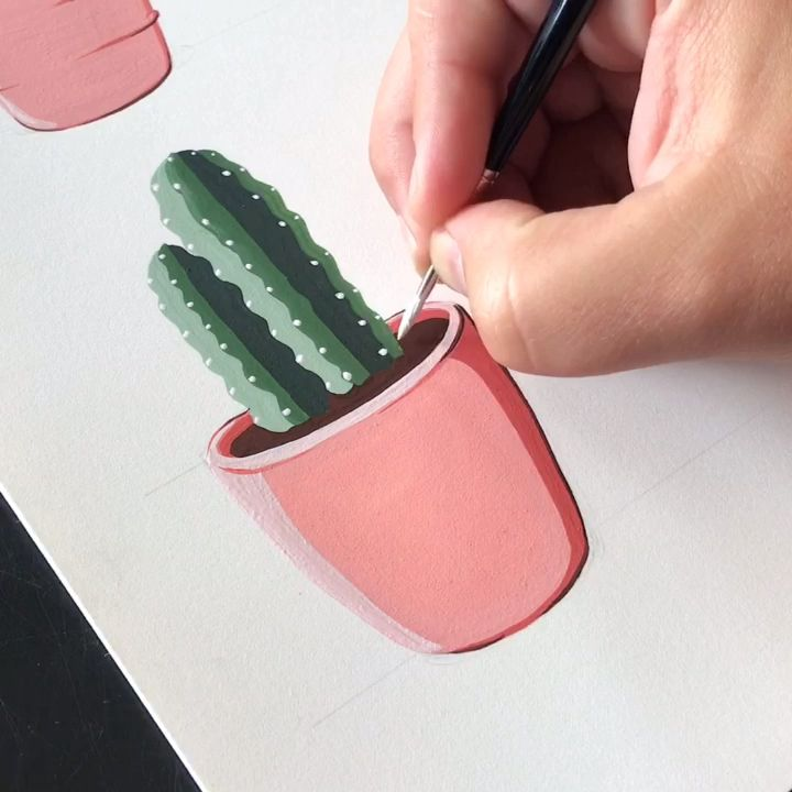 Painting Potted Cacti with Gouache by Philip Boelter