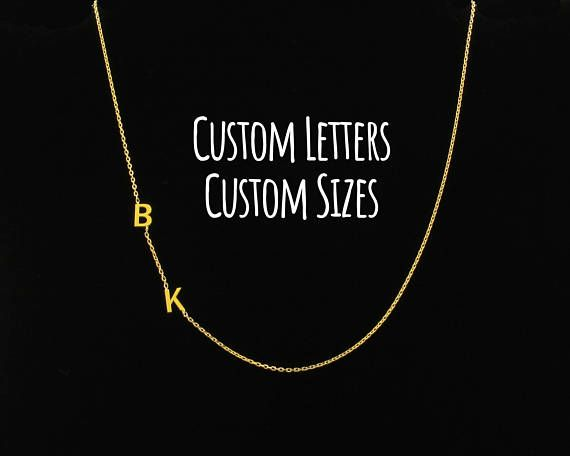 Sideways Initial Necklace Initial Necklace Dainty Necklace
