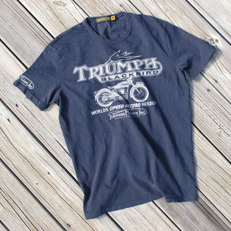 Our new Johnson Motors, Inc. teeshirt collection features classic vintage graphics on lightweight cotton. Perfect for summer and Made In America. Available at shop.triumphmotorcycles.com (Canada: shop.triumph-motorcycles.ca) and at your Triumph dealers.
