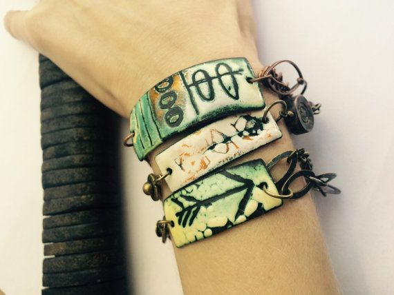 Bracelet Torch Fired Enamel/ sgraffito/ copper by Paintingwithfire