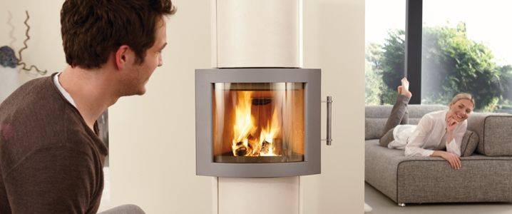 Poêle à bois, poêle-cheminée Merida, cheminée contemporaine | Hase