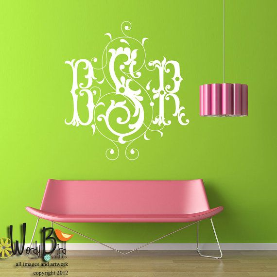 Personalized monogram wall decal fancy scroll monogram bedroom decor 3 letter monogram vinyl lettering