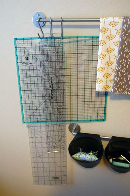 Another use for the ikea wall rail: cutting mats on s-hooks!