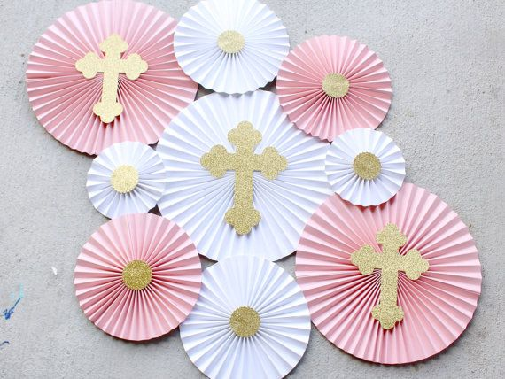 baptism decorations christening decor first communion girl baptism baptism party paper rosettes paper fans paper pinwheels