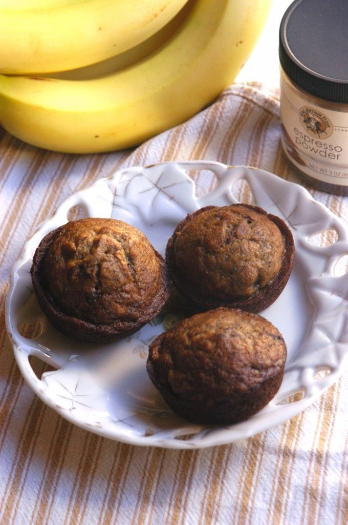 brown butter banana espresso chocolate chip muffins