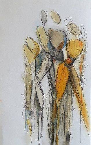 """Angela Fusenig, """"Figürliche Komposition (Serie Dolls)"""" Mit einem Klick auf 'Als Kunstkarte versenden' versenden Sie kostenlos dieses Werk Ihren Freunden und Bekannten."""