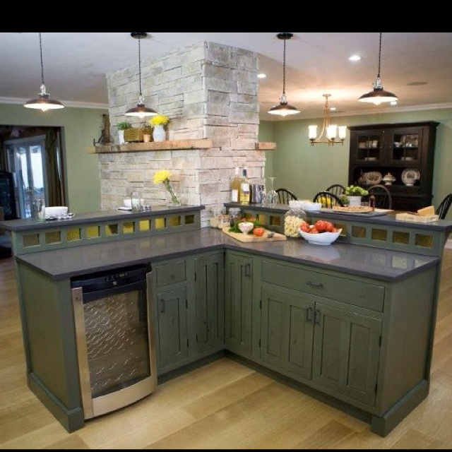 Kitchen Cabinets Green: Green Rustic Cabinets