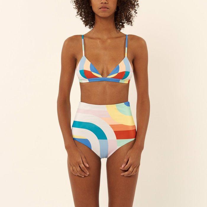 10 Best High-Waisted Bikinis- #7  Mara Hoffman Colorblock High-Waisted Bikini Bottoms #rankandstyle