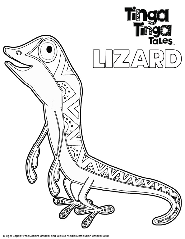 Tinga Tinga Tales Black and white picture of Lizard.