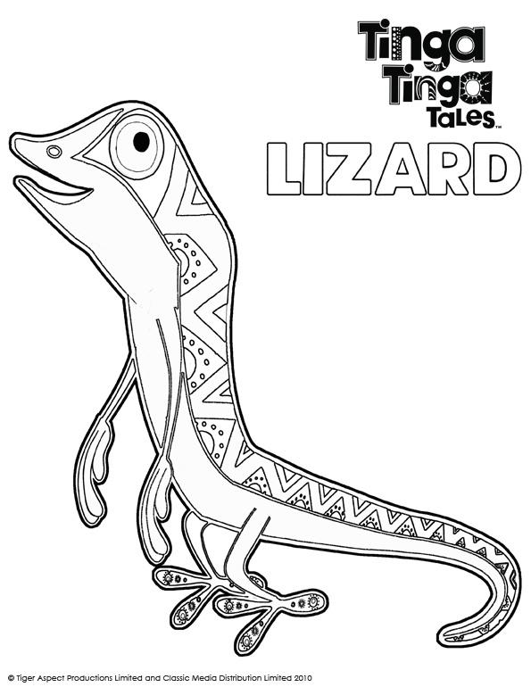 Tinga Tinga Tales Black and white picture of Lizard.