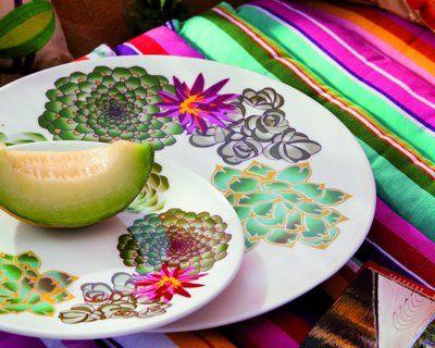 vaisselle 'fiesta à valparaiso' de geneviève lethu