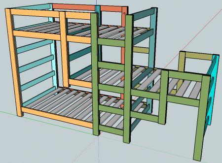 Triple Bunk Staggered Beds TUTORIAL AND SUPPLY LIST...WILL SUIT A ROOM 8'H