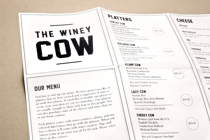 Branding menu design and stationery for a wine cheese