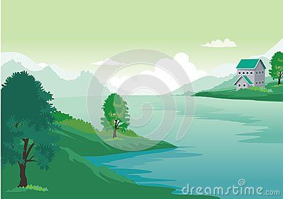 Home with beautiful natural scenery. cartoon style with a backdrop of beautiful…