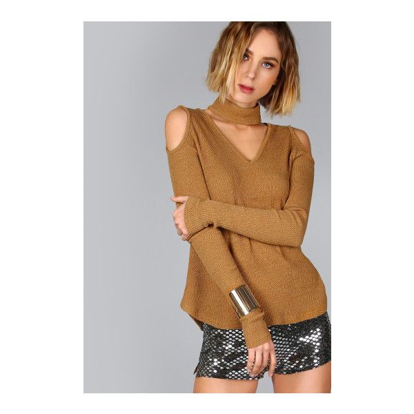 SheIn(sheinside) Camel Ribbed Knit Cutout Choker Neck Open Shoulder... ($13) ❤ liked on Polyvore featuring tops, t-shirts, camel, long sleeve v neck t shirts, cut out shoulder top, brown t shirt, v neck tee and long sleeve stretch t shirt