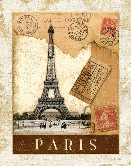 Matasellos de París Torre Eiffel 11 x 14 por TinaChadenDesigns