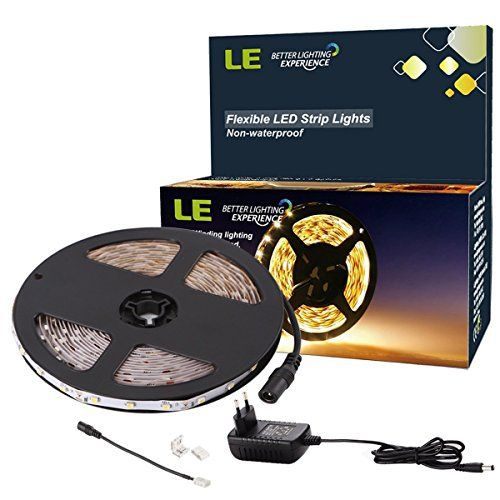 LE 5M Bande LED Flexible 12V, Kit tout inclus, Ruban LED, 3000K Blanc Chaud, 300 unités 3528 LED, Non Etanche, Bandes Ultra Légère, Tous…