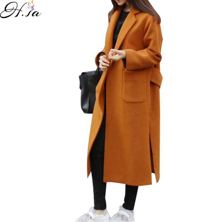 2016 New Women Winter Wool Jacket Coat Oversized Knee Length Long Winter Coat Elegant Woolen Slim Manteau Femme Blends Jacket