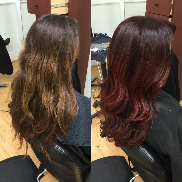 Newport Beach Hair Stylist Natural Mouse Dark Blonde Base with Light Brown and Gold Balayage Highlights to Deep Cherry Wood Magenta Base with Bright Pomegranate Magenta Copper Red Balayage Highlights by Emily Cain - EmilyAnnCain