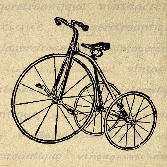 Antique Tricycle Bike Graphic Image Download Bicycle Digital Illustration Printable Artwork Vintage Clip Art 18x18 HQ 300dpi No.1267 @ vintageretroantique.etsy.com