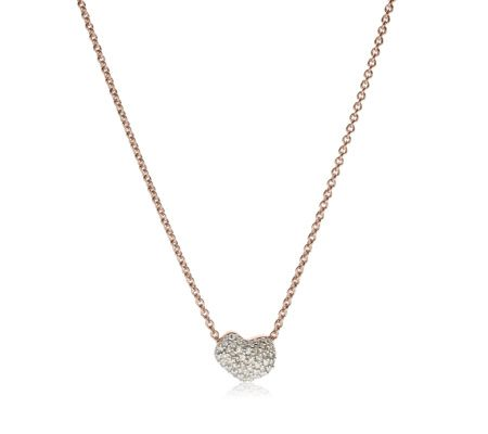 This delicate necklace features a dainty heart with 43 sparkling pavé set diamonds totalling 0.11 carats. The chain measures 17.5cm and a sliding bead allows you to adjust its length. Nura Heart also features a mini stacking ring and bracelet. #MonicaVinader #jewellery #jewelry