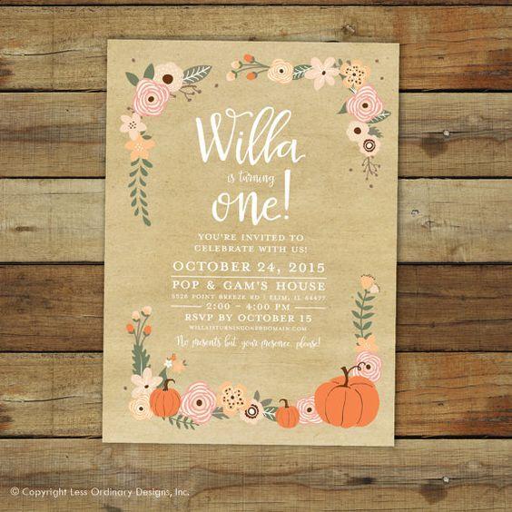 Pumpkin birthday party invitation, fall birthday, peach and coral pumpkin first birthday party invitation, 1st birthday printable invitation on Etsy, $16.00