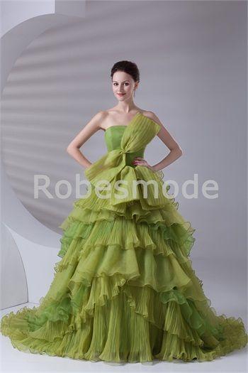 Robe de mariée spéciale vert jaune jupe à plusieurs niveaux en satin/organza