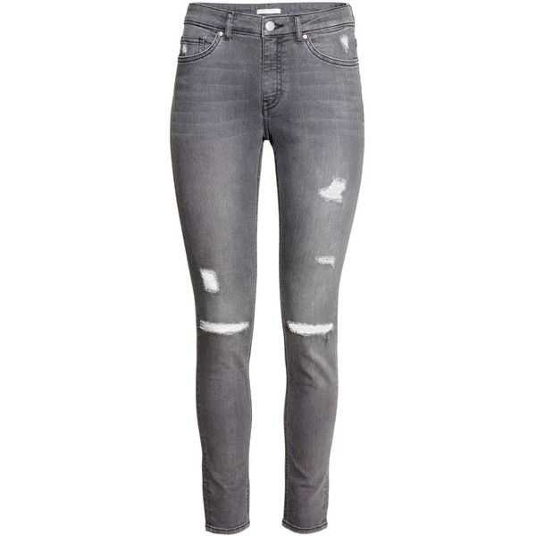 H&M Slim Regular Jeans found on Polyvore featuring jeans, pants, bottoms, grey, h&m, grey jeans, slim cut jeans, gray jeans and h&m jeans