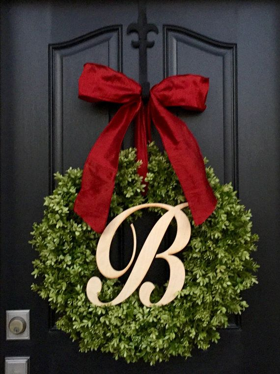 Winter Boxwood Wreath Monogram Wreath Wooden by twoinspireyou