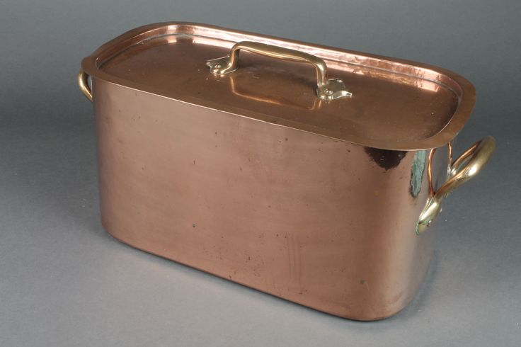 """Lot 314, A 19th Century oval twin handled copper fish kettle 18"""" sold for £65"""