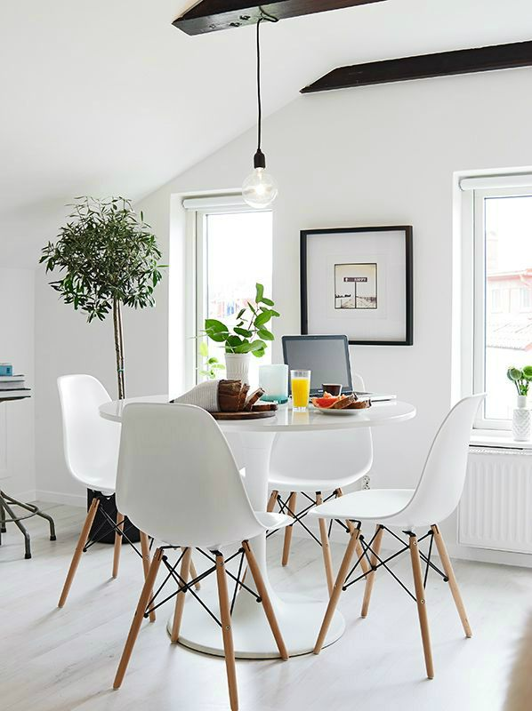 small dining room - industrial lighting, simplicity, clear surfaces