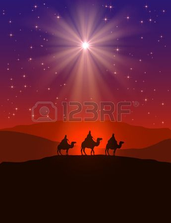 Sfondo Natale cristiano con splendente stella in cielo notturno e tre saggi, illustrazione. Archivio Fotografico