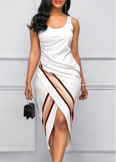 Scoop Neck Sleeveless White Sheath Dress | Rosewe.com - USD $32.64