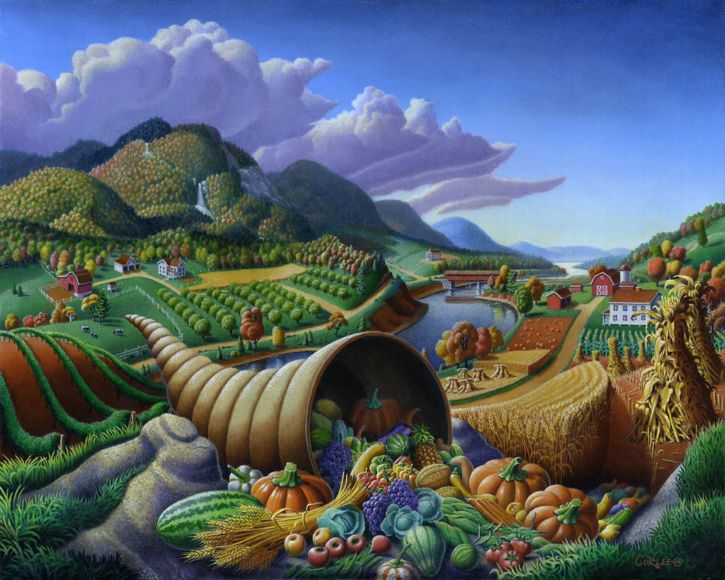 Horn Of Plenty, Cornucopia, Country Farm Landscape Oil Painting, Rural Americana