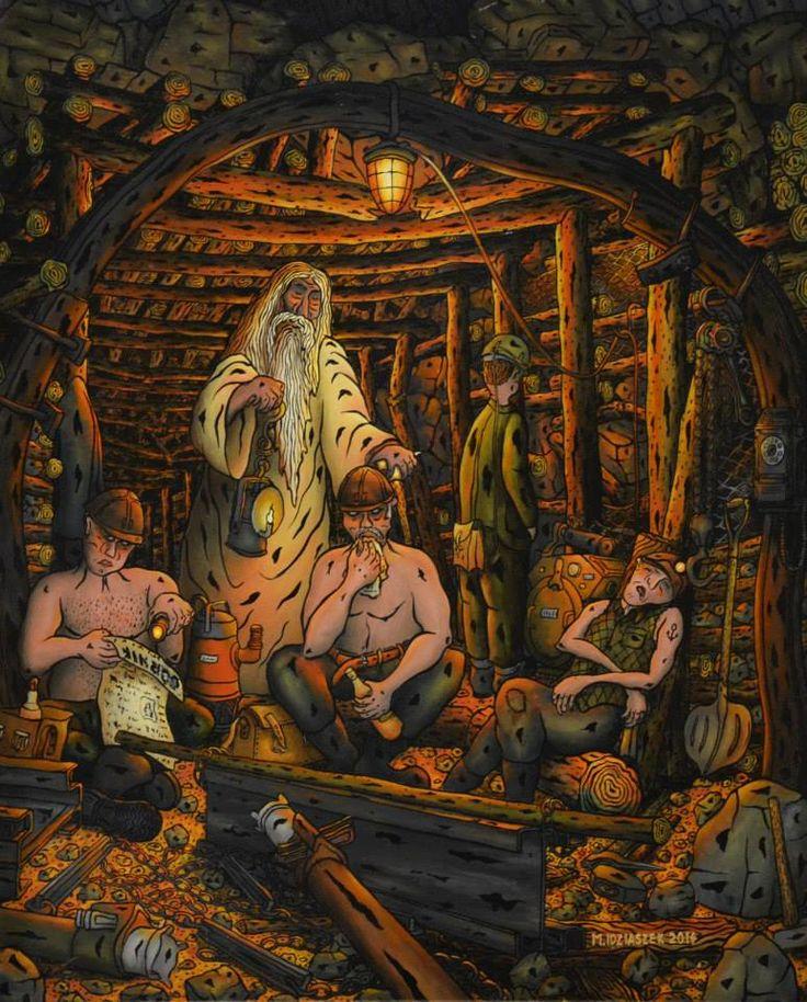 """Marek Idziaszek """"Godzina Skarbnika"""" (oil painting on glass)"""