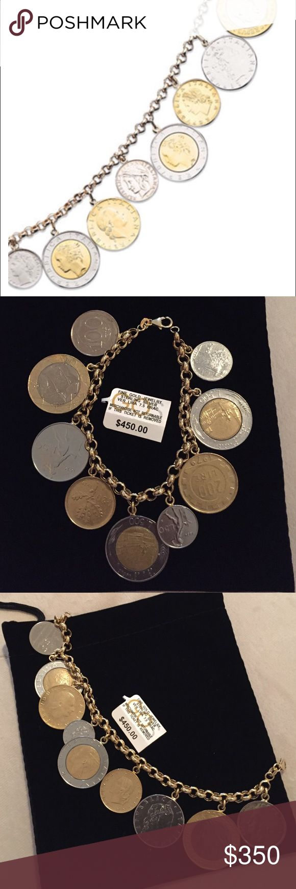 Coin Charm Bracelet This striking bracelet features an eclectic mix of real Italian Lira coins on a elegant 14k gold vermeil over sterling silver rolo bracelet. Approximately length: 7-1/2 inches with black pouch. Preloved and still in good condition. Worn only few times. Bought at Macy's. NO TRADES. Please ask any questions questions before purchasing. Macy's Jewelry Bracelets