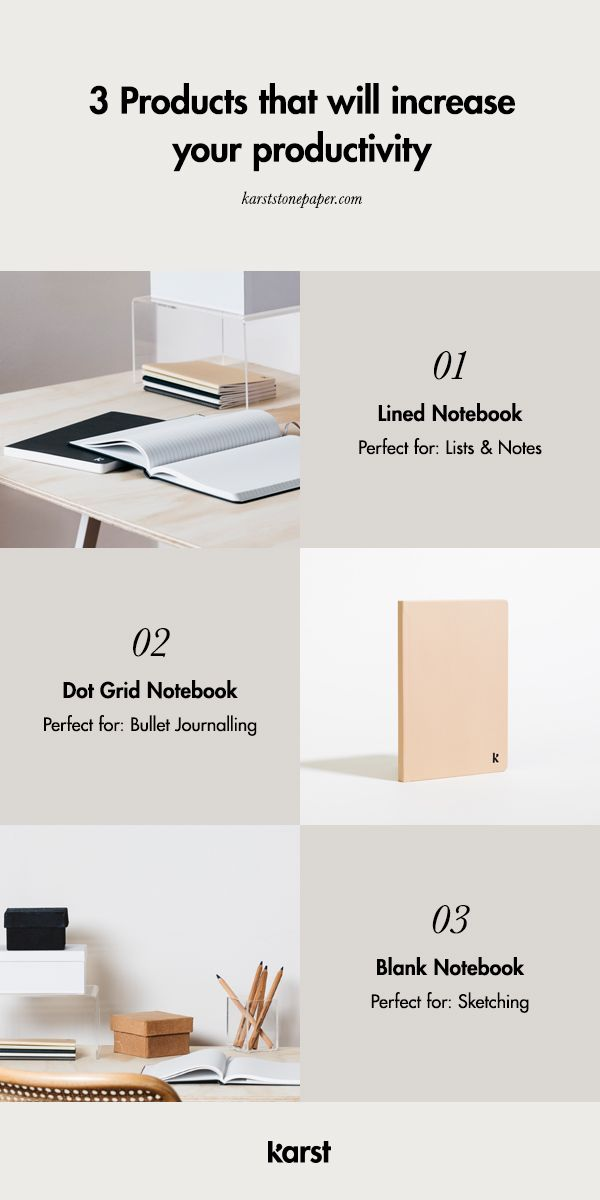 The Lined Notebook, Dot Grid Notebook, and Blank Notebook are perfect for increasing productivity. The smooth texture of the pages and flat-lay binding provide ample comfort and writing space for your notes and ideas. Shop Today!