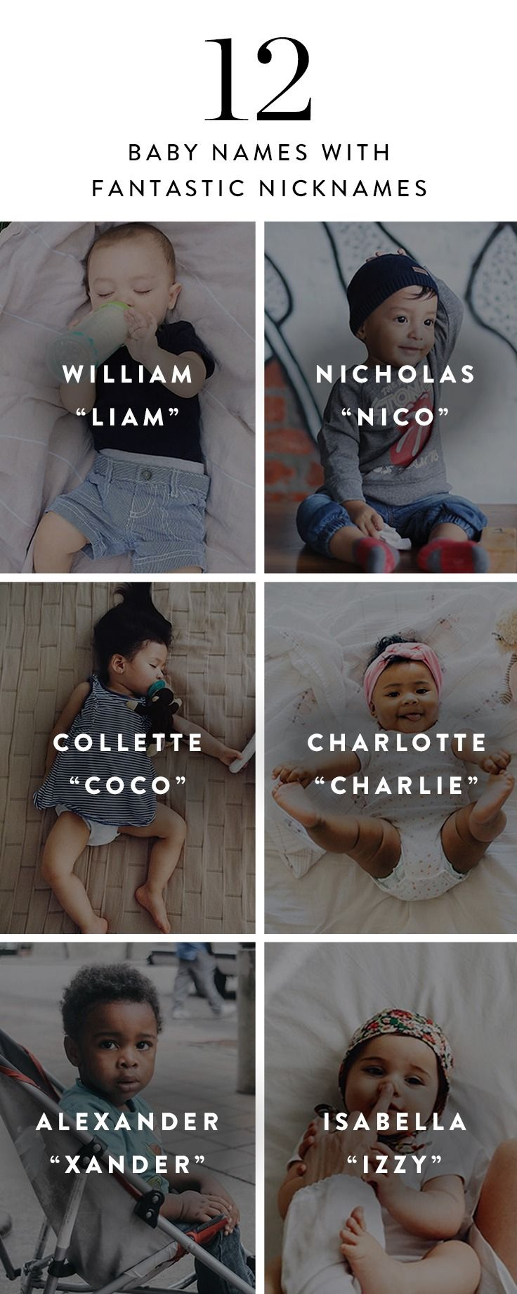 You say your baby's name hundreds of times a day. Sometimes, it's nice to switch things up. That's why we pulled together 12 monikers with unique (and super-sweet) nicknames.