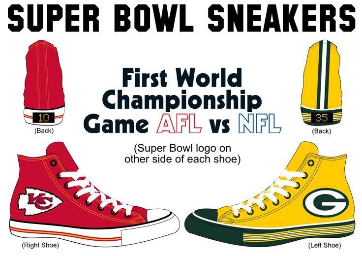 Green Bay Packers versus Kansas City Chiefs Super Bowl I Sneakers: each Converse Chuck Taylor All Star shoe modeled after the participating NFL teams' helmets.  Final score of Super Bowl on back heels.
