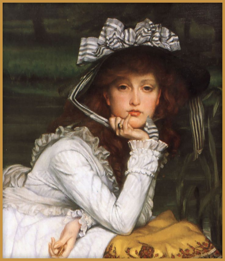 """""""Just for fun"""" ....A slight change to the curve of the lips and arch of the brow.  """"Young Lady in a Boat"""" 1870 Oil on canvas  James Jacques Joseph Tissot (1836-1902) was a French painter, who spent much of his career in Britain. Tissot exhibited in the Paris Salon and was friends with Edgar Degas and James Whistler.  Wikipedia: en.wikipedia.org/wiki/James_Tissot"""
