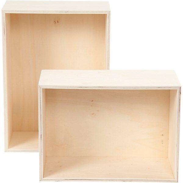 Ønsker meg tilsammen 8-10 stk Oppbevaringskasser, rektangel, H: 27+31 cm, B: 19,5+22,5 cm, kryssfiner, 2stk., dybde 12,5 cm