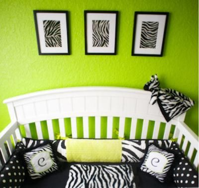 Carly's zebra print nursery bedding looks amazing with the lime green wall paint color. Everyone (according to her mom) may not find Carly's lime green zebra nursery appealing but that's the beautiful thing about decorating the rooms of our