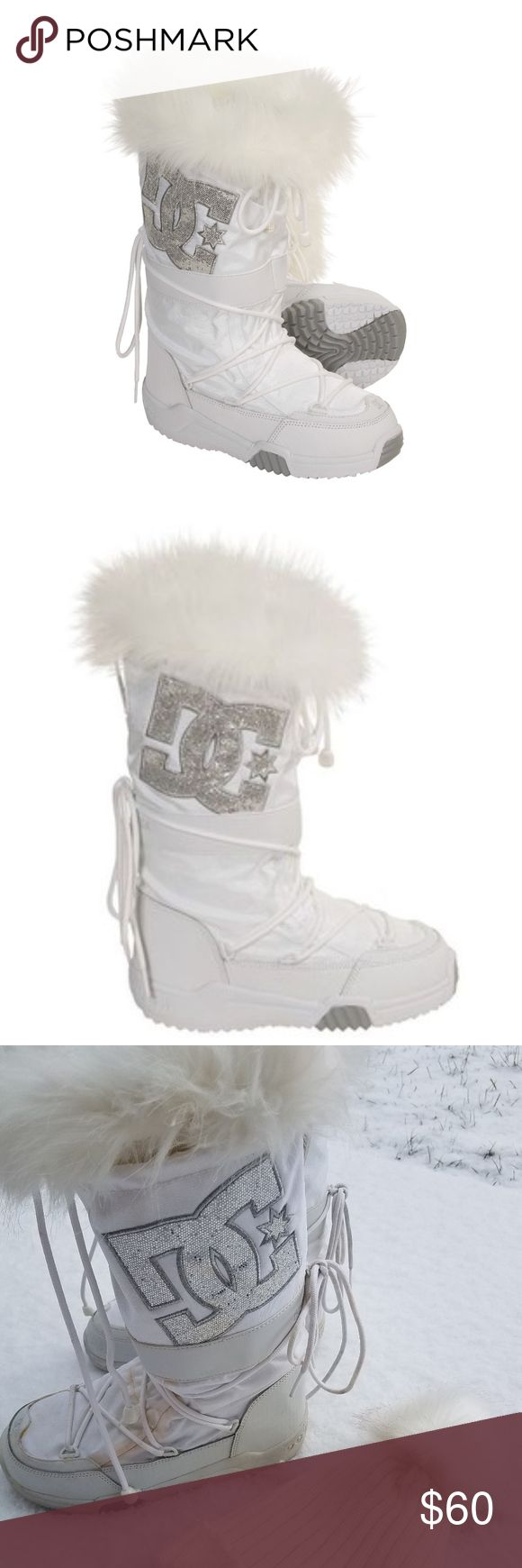 DC Chalet 2.0 white sparkle snow boots sz 8 Super cute DC snow bunny boots! Comfortable after a day on the slopes. DC logo is rhinestones. Hardly worn but yellowing at seams. (see pics 3&4)  Nice practical treads on bottom. DC Shoes Winter & Rain Boots